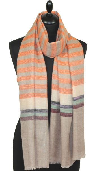 Pashmina beige/orange/noir