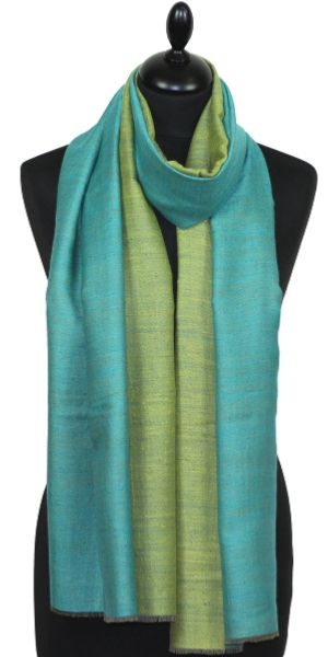 Pashmina bicolore turquoise/or