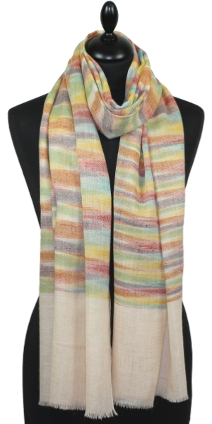Pashmina naturel multicolore